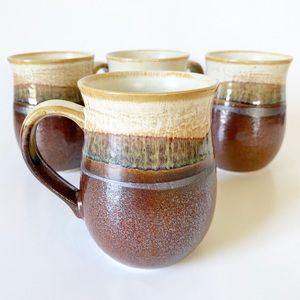 Set of 4 Vintage Pottery Mugs